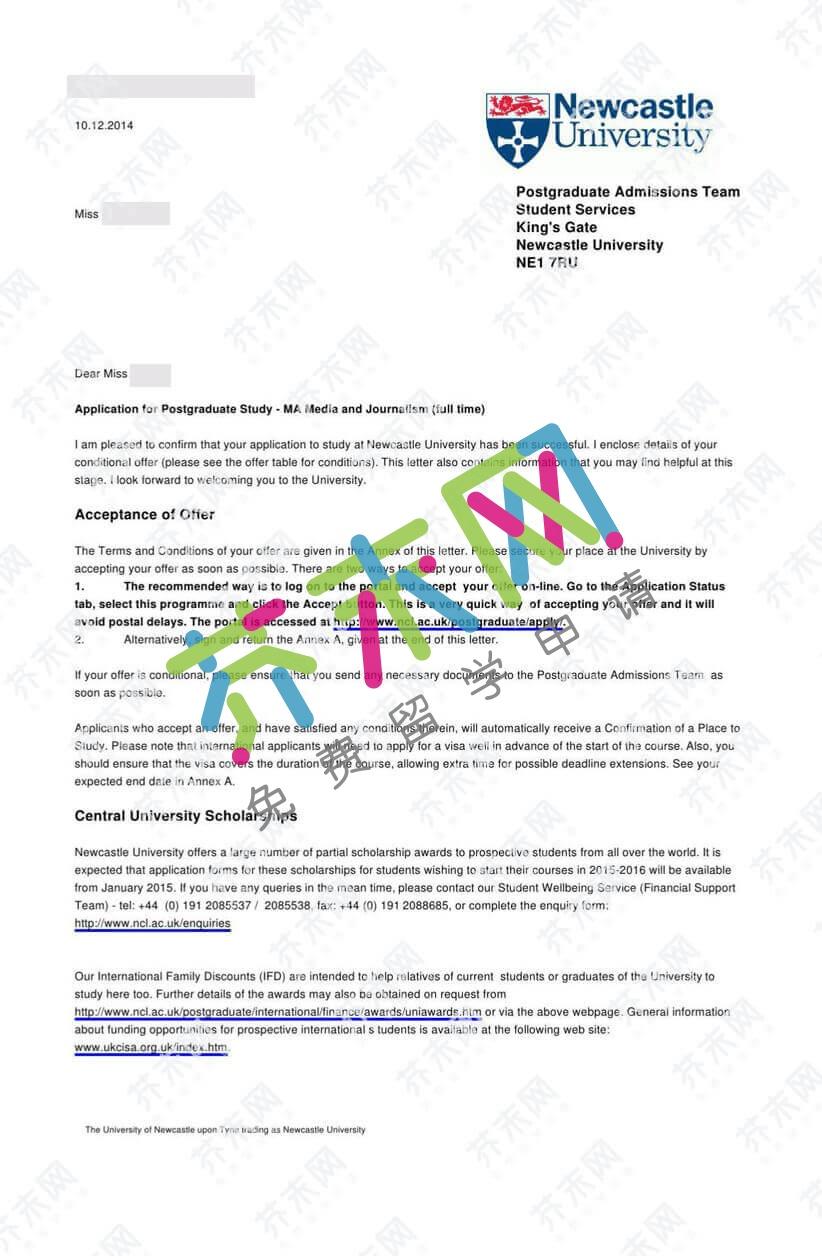 王同学的英国纽卡斯尔大学offer