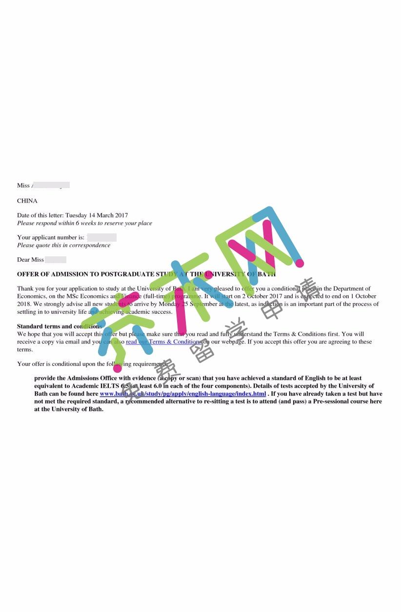 梅同学的巴斯大学offer